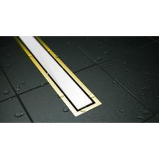 Душевой лоток Confluo Premium White Glass Gold Line 300 с решеткой